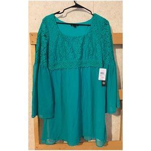 Jade/teal dress with trumpet sleeves